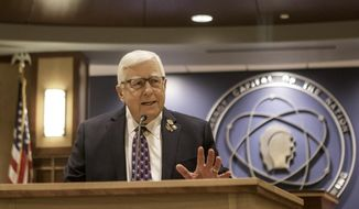 Wyoming Republican U.S. Sen. Mike Enzi announces that he will not run for a fifth term in 2020 on Saturday, May 4, 2019 in Gillette, Wyo. The 75-year-old made the announcement in his hometown, where he owned a shoe store before becoming mayor in 1975. That was the start of a successful political career that led him to the Senate in 1996.  (Rhianna Gelhart/Gillette News Record via AP)