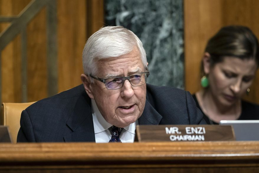 In this March 27, 2019 file photo, Sen. Mike Enzi, R-Wyo., chairman of the Senate Budget Committee, makes an opening statement on the fiscal year 2020 budget resolution, on Capitol Hill in Washington.  Enzi announced Saturday, May 4  that he will not run for a fifth term in 2020. The 75-year-old made the announcement in his hometown of Gillette. (AP Photo/J. Scott Applewhite, File)