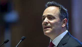 FILE - In this Feb. 7, 2019, file photo, Kentucky Gov. Matt Bevin delivers the State of the Commonwealth address to a joint session of the state legislature at the state Capitol in Frankfort, Ky.  Springtime in Kentucky means trees blooming, horses racing and, in most years, politicians jockeying for position ahead of the late May primary election. This year, with the biggest political prize in Kentucky up for grabs, Republican Gov. Matt Bevin is seeking a second term and three prominent Democrats are among those competing for a chance to unseat him. (AP Photo/Bryan Woolston, File)