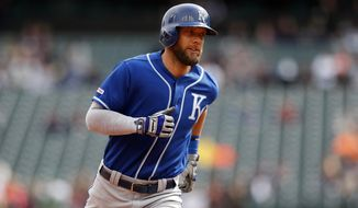 Kansas City Royals' Alex Gordon rounds the bases after his two-run home run during the first inning of a baseball game against the Detroit Tigers, Saturday, May 4, 2019, in Detroit. (AP Photo/Carlos Osorio)