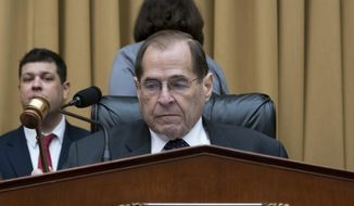 House Judiciary Committee Chair Jerrold Nadler, D-N.Y., gavels in a hearing on the Mueller report without witness Attorney General William Barr who refused to appear, on Capitol Hill in Washington, Thursday, May 2, 2019.  (AP Photo/J. Scott Applewhite)