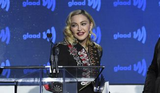 Honoree Madonna accepts the advocate for change award at the 30th annual GLAAD Media Awards at the New York Hilton Midtown on Saturday, May 4, 2019, in New York. (Photo by Evan Agostini/Invision/AP) ** FILE **