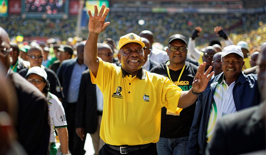 South African President Cyril Ramaphosa held his final election rally of the African National Congress on Sunday at Ellis Park stadium in Johannesburg. (Associated Press)