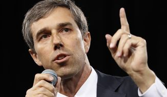 In this April 27, 2019, file photo,. Democratic presidential candidate and former Texas congressman Beto O'Rourke speaks at a Service Employees International Union forum on labor issues in Las Vegas. The relatively few Democratic presidential candidates from red states have taken different approaches to convincing voters that a familiarity with Donald Trump country could help them denying him a second term. (AP Photo/John Locher, File)