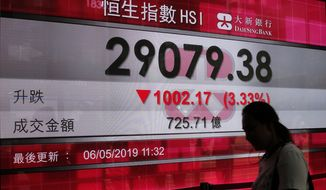 A woman walks past a bank's electronic board showing the Hong Kong share index at Hong Kong Stock Exchange Monday, May 6, 2019.  Shares tumbled in Asia early Monday after President Donald Trump threatened in a tweet to impose more tariffs on China, spooking investors who had been expecting good news on trade. (AP Photo/Vincent Yu)