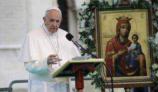 Pope Francis speaks outside the Cathedral of Saint Alexander Nevsky in Sofia, Bulgaria, Sunday, May 5, 2019. Pope Francis is visiting Bulgaria, the European Union's poorest country and one that taken a hard line against migrants, a stance that conflicts with the pontiff's view that reaching out to vulnerable people is a moral imperative. (AP Photo/ Alessandra Tarantino)