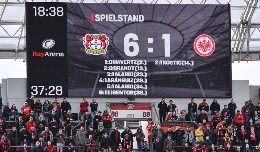 The scorer board shows six goals for Leverkusen and one goal for Frankfurt at halftime of the German Bundesliga soccer match between Bayer Leverkusen and Eintracht Frankfurt in Leverkusen, Germany, Sunday, May 5, 2019. (AP Photo/Martin Meissner)