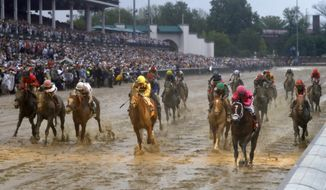 Luis Saez rides Maximum Security across the finish line first followed by Flavien Prat on Country House during the 145th running of the Kentucky Derby horse race at Churchill Downs Saturday, May 4, 2019, in Louisville, Ky. Country House was declared the winner after Maximum Security was disqualified following a review by race stewards. (AP Photo/Matt Slocum)