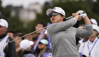 Sei Young Kim, of South Korea, tees off on the first hole of the Lake Merced Golf Club during the final round of the LPGA Mediheal Championship golf tournament Sunday, May 5, 2019, in Daly City, Calif. (AP Photo/Tony Avelar)