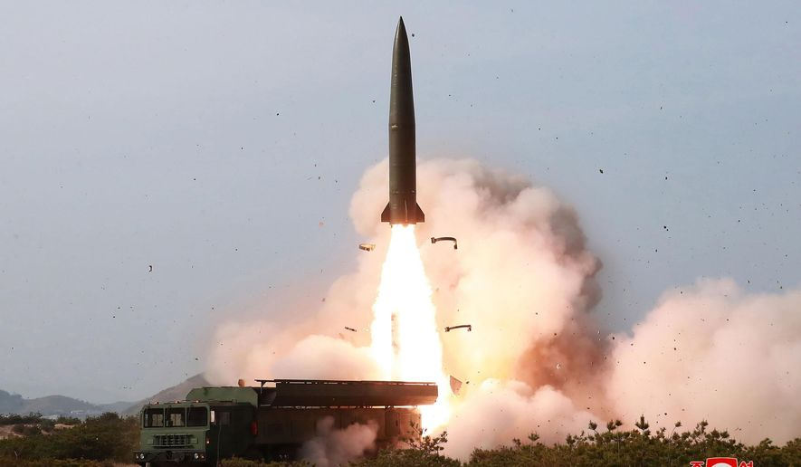 North Korean state media said leader Kim Jong-un observed live-fire drills Saturday of long-range multiple rocket launchers and unspecified tactical guided weapons. (Associated Press)
