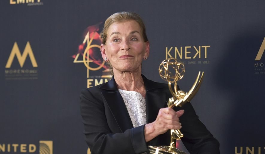 Lifetime achievement award winner Judge Judy Sheindlin poses in the press room at the 46th annual Daytime Emmy Awards at the Pasadena Civic Center on Sunday, May 5, 2019, in Pasadena, Calif. (Photo by Richard Shotwell/Invision/AP)