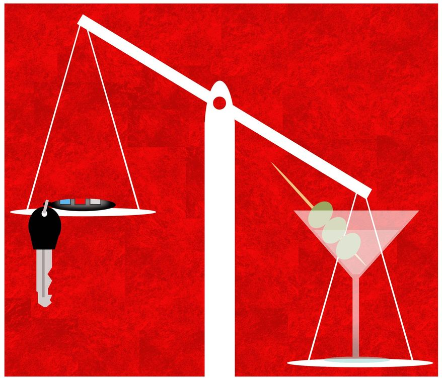 Illustration on lowered alcohol levels in proposed drunk driving laws by Alexander Hunter/The Washington Times