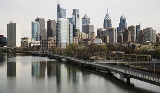Shown is the skyline in Philadelphia along the Schuylkill River, Tuesday, April 9, 2019. (AP Photo/Matt Rourke)  **FILE**