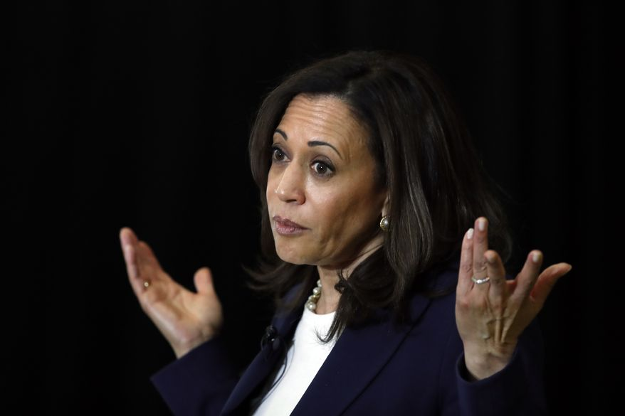 Democratic presidential candidate Sen. Kamala Harris, D-Calif., speaks during a town hall for the American Federation of Teachers in Detroit, Monday, May 6, 2019. (AP Photo/Paul Sancya) ** FILE **