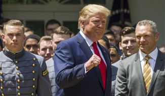 President Donald Trump pumps his fist as he departs after the presentation of the Commander-in-Chief's Trophy to the U.S. Military Academy at West Point football team, in the Rose Garden of the White House, Monday, May 6, 2019, in Washington. (AP Photo/Alex Brandon) **FILE**