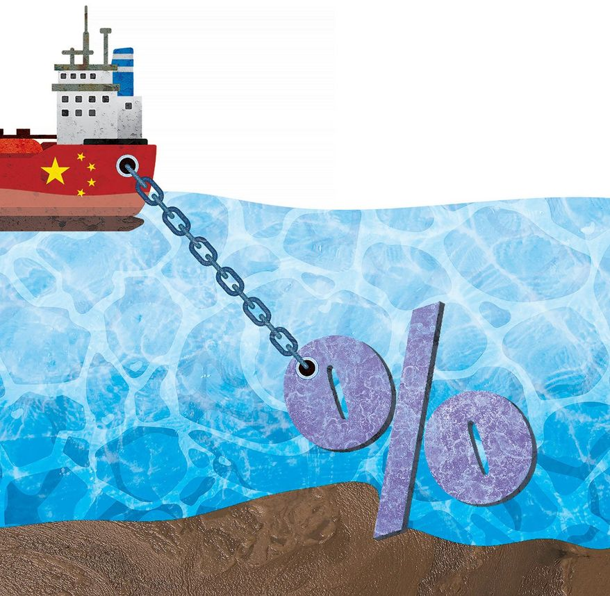 Tariff Anchor Illustration by Greg Groesch/The Washington Times