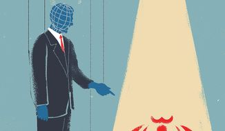 Illustration on the U.S. role in confronting Iran by Linas Garsys/The Washington Times