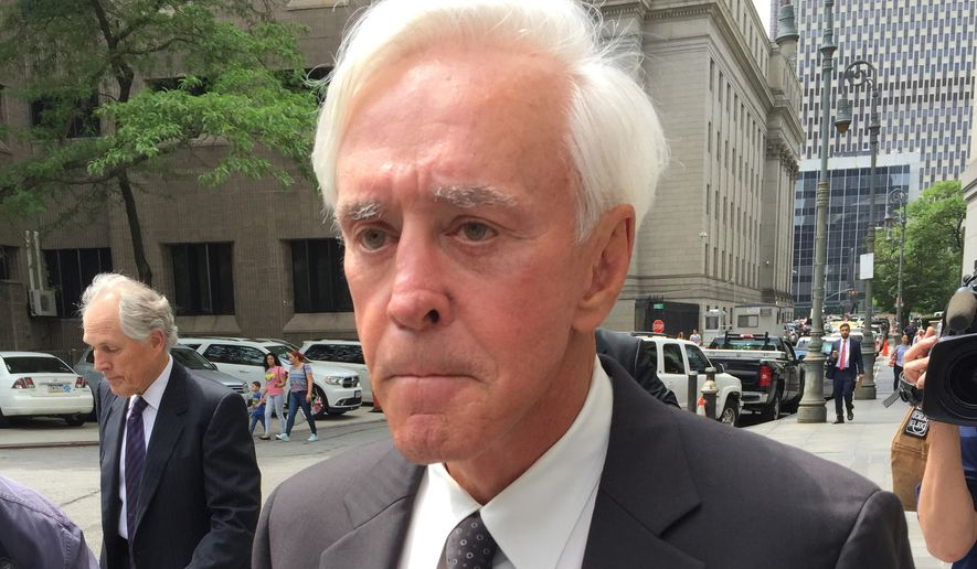 Professional gambler William Walters, left, leaves Manhattan federal court after pleading not guilty in an insider trading prosecution, Wednesday, June 1, 2016, in New York. (AP Photo/Larry Neumeister) ** FILE **