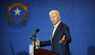 Former Vice President and Democratic presidential candidate Joe Biden speaks at a rally with members of a painters and construction union, Tuesday, May 7, 2019, in Henderson, Nev. (AP Photo/John Locher)
