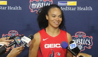 Washington Mystics guard Kristi Toliver talks to reporters on Monday, May 6, 2019. Toliver was also a full-time coach on the Washington Wizards' staff during their 2018-19 season. (Adam Zielonka/The Washington Times) **FILE**