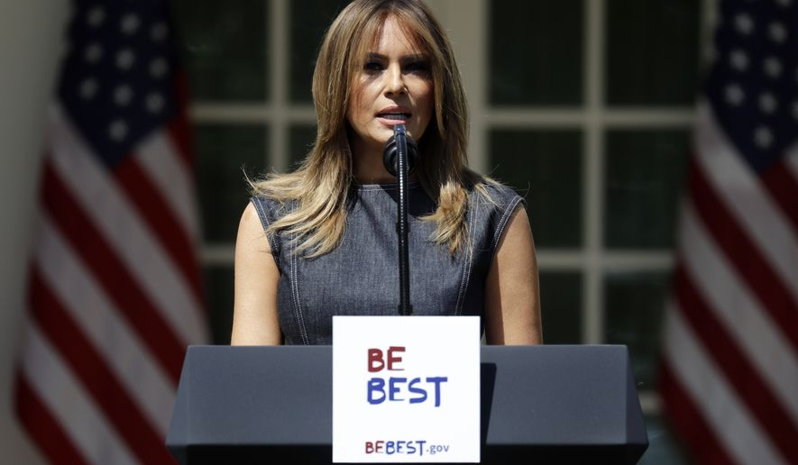First lady Melania Trump speaks at the opening of a program for the first lady's Be Best initiative in the Rose Garden of the White House, Tuesday, May 7, 2019, in Washington. (AP Photo/Evan Vucci)