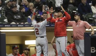 Washington Nationals' Adam Eaton is congratulated after hitting a home run during the seventh inning of a baseball game against the Milwaukee Brewers Monday, May 6, 2019, in Milwaukee. (AP Photo/Morry Gash)