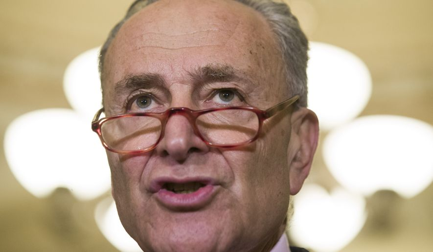 Senate Minority Leader Chuck Schumer of N.Y., speaks during a media availability after their policy luncheon on Capitol Hill, Tuesday, May 7, 2019 in Washington. (AP Photo/Alex Brandon)