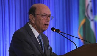 US commerce secretary Wilbur Ross speaks at the 11th Trade Winds Business Forum and Mission hosted by the US Department of Commerce, in New Delhi, India, Tuesday, May 7, 2019. Top executives of more than 100 U.S. companies are visiting India to meet with government leaders, market experts and potential business partners to boost reciprocal trade. (AP Photo/Manish Swarup)