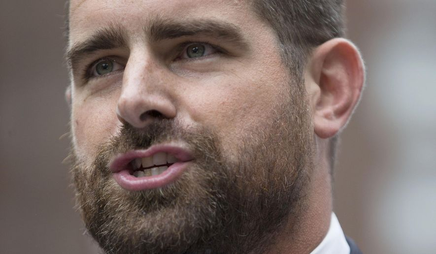 """FILE - In this Sept. 25, 2014, file photo, State Rep. Brian Sims, D-Philadelphia, speaks at a protest calling on Pennsylvania to add sexual orientation to its hate crime law at John F. Kennedy Plaza, also known as Love Park in Philadelphia. The Democratic Pennsylvania state lawmaker is drawing criticism for recording himself berating a woman demonstrator at length outside an abortion clinic in Philadelphia, calling her an """"old white lady"""" and her protest """"grotesque."""" (AP Photo/Matt Rourke, File)"""