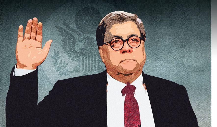 Barr Oath Illustration by Greg Groesch/The Washington Times