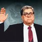 Barr Oath Illustration by Greg Groesch/The Washington Times