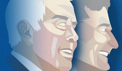 Illustration on the legacy of Indiana Senators Richard Lugar and Birch Bayh by Linas Garsys/The Washington Times