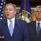"""House Minority Whip Steve Scalise said Wednesday that """"Democrats would rather harass the president than solve problems."""" (Associated Press)"""