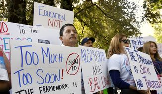 Opponents of a proposal to makes changes to the sex education guidance for teachers, rallied at the Capitol Wednesday, May 8, 2019, in Sacramento, Calif. The California State Board of Education is set to vote Wednesday on new guidance for teaching sex education in public schools. The guidance is not mandatory but it gives teachers ideas about how to teach a wide range of health topic including speaking to children about gender identity. (AP Photo/Rich Pedroncelli) **FILE**