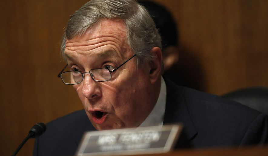 Sen. Dick Durbin, D-Ill, Ranking Member of the Senate Committee on the Judiciary, Subcommittee on Border Security and Immigration, responds to testimony from Department of Homeland Security Acting Executive Associate Director of Enforcement and Removal Operations Nathalie Asher, during a Senate Judiciary Border Security and Immigration Subcommittee hearing about the border, Wednesday May 8, 2019, on Capitol Hill in Washington. (AP Photo/Jacquelyn Martin)