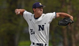 Navy senior pitcher Noah Song winds up to pitch during a game in 2019. Song leads Division I in strikeouts and is likely to be taken in the 2019 MLB Amateur Draft. (Photo by Phil Hoffmann / Courtesy of Naval Academy athletics) ** FILE **