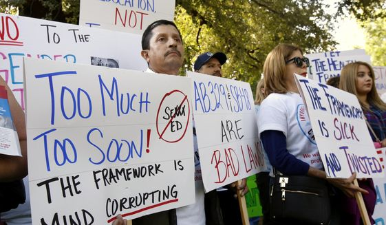 Opponents of a proposal to make changes to the sex education guidance for teachers, rallied at the Capitol Wednesday, May 8, 2019, in Sacramento, Calif. (AP Photo/Rich Pedroncelli) ** FILE **
