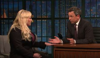 """ABC's """"The View"""" co-host Meghan McCain and comedian Seth Meyers had a tense exchange on NBC's """"Late Night"""" Tuesday over Ms. McCain's allegations of anti-Semitism against Democratic Rep. Ilhan Omar. (NBC)"""