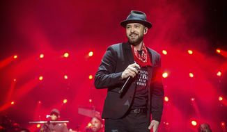"FILE - In this Sept. 23, 2017 file photo, Justin Timberlake performs at the Pilgrimage Music and Cultural Festival in Franklin, Tenn. Timberlake's songwriting chops will be honored next month. The pop star will receive the Contemporary Icon Award from the Songwriters Hall of Fame on June 13, 2019, at the organization's 50th annual induction ceremony in New York. Timberlake is just the second person to receive the honor; Lady Gaga earned it in 2015. Songwriters Hall said the award is given to a ""songwriter-artist who has attained an iconic status in pop culture."" (Photo by Amy Harris/Invision/AP, File)"