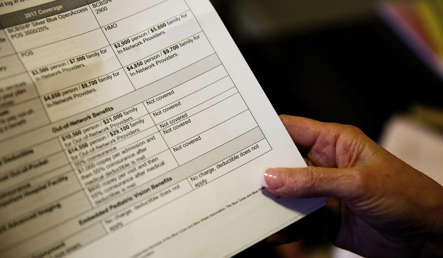 FILE - In this Monday, Dec. 4, 2017, file photo, a woman looks over her health insurance benefit comparison chart which shows out-of-network coverages dropped for 2018, at her home office in Peachtree City, Ga. Health insurers denied nearly 43 million claims in 2017 in part of the individual insurance market, and patients appealed well under 1% of those decisions, according to the nonprofit Kaiser Family Foundation, which analyzed data on care sought inside an insurer's coverage network. (AP Photo/David Goldman, File)
