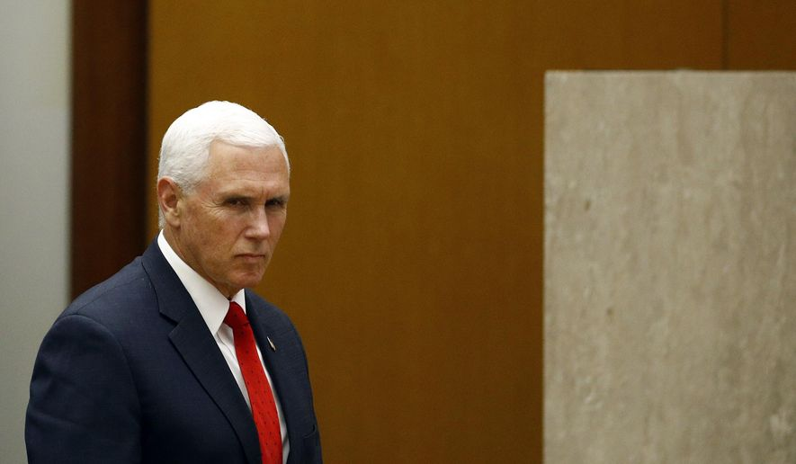Vice President Mike Pence arrives to speak at the 49th Washington Conference on the Americas, Tuesday, May 7, 2019, at the U.S. State Department in Washington. (AP Photo/Patrick Semansky)
