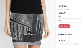A screen grab made Wednesday May 8, 2019 from the site of an online vendor showing an Auschwitz themed product for sale. Museum authorities at the Auschwitz-Birkenau former Nazi German death camp in Poland have protested to an online vendor that was selling miniskirts, pillows and other items bearing photos of the camp, where some 1.1 million people were killed during World War II. (Photo via AP)