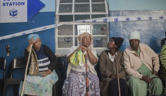 Elderly voters queue to vote in presidential and parliamentary elections, near Durban, South Africa on Wednesday, May 8, 2019. South Africans have started voting in presidential and parliamentary elections amid issues of corruption and unemployment. It is 25 years after the end of apartheid, but despite the demise of the system of racial discrimination the country remains divided by economic inequality. (AP Photo/Mlungisi Mbele)