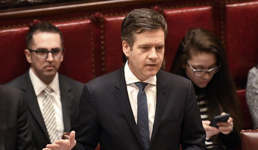 In this Jan. 15, 2019, file photo, New York State Sen. Brad Hoylman, addresses members for the Senate at the state Capitol in Albany, N.Y. The Manhattan Democrat is one of the main sponsors of a bill that would allow congressional investigators to get access to President Donald Trump's state tax returns, giving Democrats a potential end-run around the administration's refusal to disclose the president's federal returns. The bill is expected to come up for a vote before the New York Senate on Wednesday, May 8, 2019. (AP Photo/Hans Pennink, File)