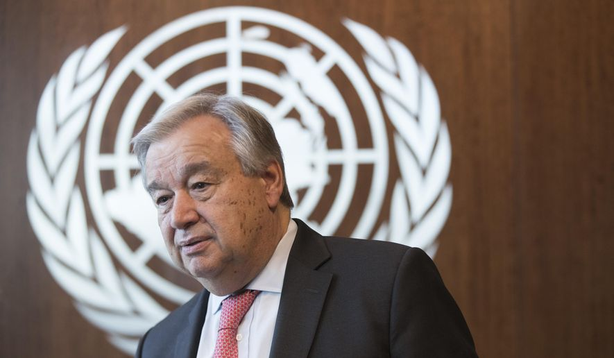 United Nations Secretary-General Antonio Guterres is photographed during an interview at United Nations headquarters on Tuesday, May 7, 2019. (AP Photo/Mary Altaffer) ** FILE **