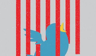 Illustration on blocking Twitter by Linas Garsys/The Washington Times