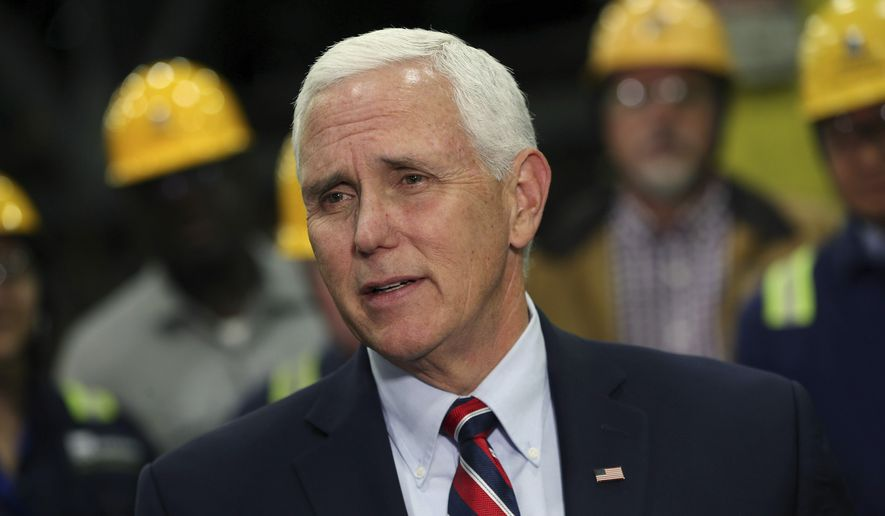 Vice President Mike Pence talks to reporters after he spoke to steel workers at the Gerdau Ameristeel mill in this Thursday, May 9, 2019, file photo. (AP Photo/Jim Mone) **FILE**