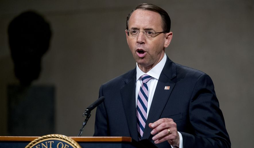 Deputy Attorney General Rod Rosenstein speaks during a farewell ceremony in the Great Hall at the Department of Justice in Washington, Thursday, May 9, 2019. (AP Photo/Andrew Harnik) ** FILE **