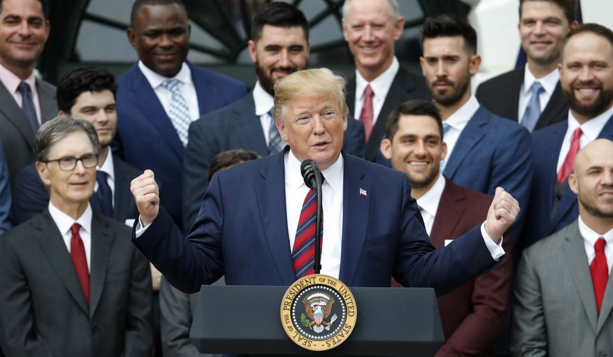President Donald Trump speaks during a ceremony on the South Lawn of the White House in Washington, Thursday, May 8, 2019, where he honored the 2018 World Series Baseball Champion Boston Red Sox. (AP Photo/Pablo Martinez Monsivais)