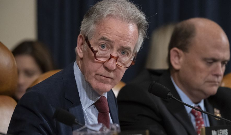 House Ways and Means Committee Chairman Richard Neal, D-Mass., who is demanding President Donald Trump's tax returns for six years, is joined at right by Rep. Tom Reed, R-N.Y., at a hearing on taxpayer noncompliance on Capitol Hill in Washington, Thursday, May 9, 2019. (AP Photo/J. Scott Applewhite)